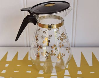Vintage Coffee Pot in Clover Design. JAJ. Retro
