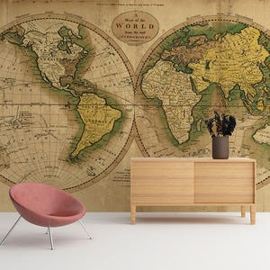 Wallpapers world map etsy au vintage map of the world world map wallpaper wall mural world map gumiabroncs Images