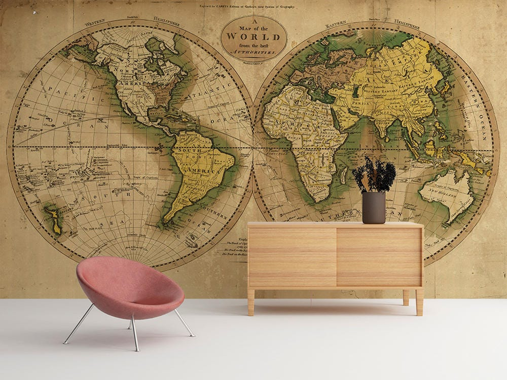 Vintage map of the world world map wallpaper wall mural request a custom order and have something made just for you gumiabroncs Choice Image