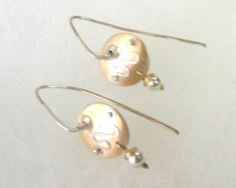 Vintage Gold and Silver Hand Crafted Cantilever Disk Earrings