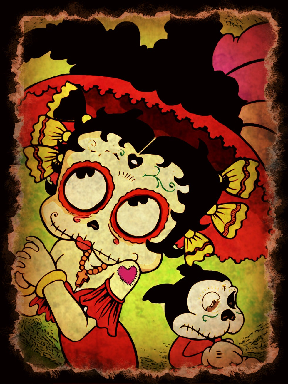 Day Of The Dead Betty Boop Print