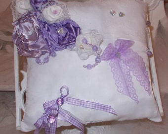 cushion alliances purple shades and white shabby chic vintage