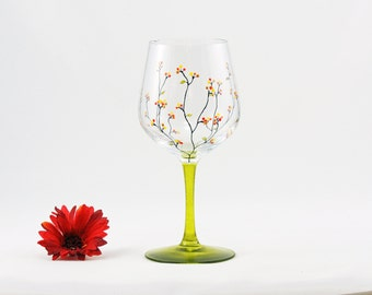 Hand painted wine glass - Louisa Collection with yellow, red and gold berries