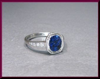 Sapphire Engagement Ring Antique Engagement Ring Art Deco Engagement Ring Platinum Diamond Engagement Ring Wedding Ring - ER 602S