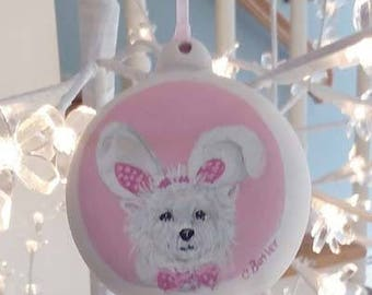 custom hand painted pet ornament, Easter ornament, bisque ornament, Christmas ornament, dog ornament, cat ornament, porcelain pet ornament