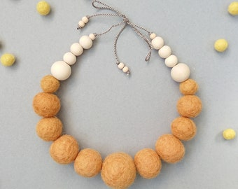 Felt Ball Necklace with Wooden Beads // Persian Orange // FREE gift box