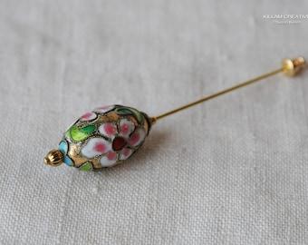 Cloisonné Stick Pin, Vintage Cloisonné Bead, White Flower, Flower Bead, 3 Inch Stick Pin, Gold Tone, Hat Pin, Lapel Pin, Hijab Pin H0385