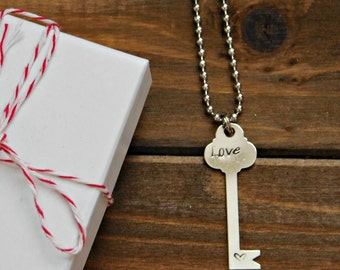 Message Necklace Key Necklace Engraved Love Key Pendant Stamped Heart Love Message Necklace Key Pendant Love Pendant Silver Heart Necklace
