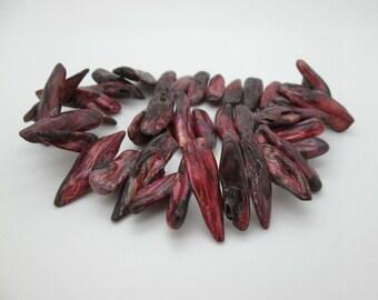 Unique Biwa Freshwater Pearls, Center Drilled, Mauve Dark Red, 25 to 35mm