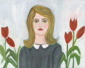Sylvia with tulips. Original oil painting by Vivienne Strauss.