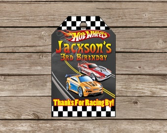 Hotwheels Thank You Favor Tags, Digital File, You Print