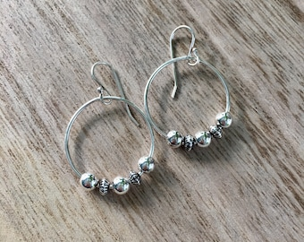 Wire Circle Earrings with Silver Ball Detail