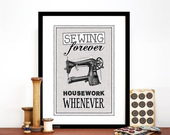 Vintage Sewing Print, Sewing Wall Decor, Craft Room Decor, Sewing Art Print, Gift for Mum, Craft Room Wall Art, Sewing Quote, Make do & Mend