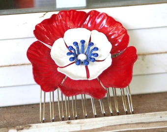 Vintage Upcycled Enamel Flower RED White BLUE Hair Accessory Hair Comb Bridal Wedding