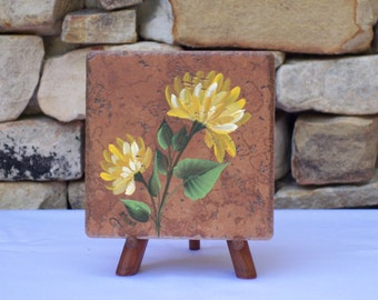 Hand Painted Tile Trivet with Yellow Chrysanthemums