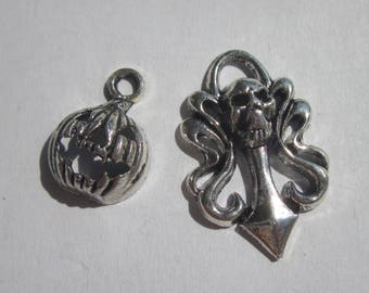 skull and pumpkin silver-plated 16 and 26 mm (BR28 - 2 charms