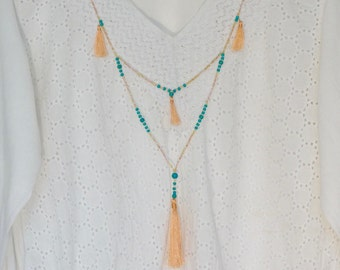 Tassel Necklace, Long Necklace, Beaded Necklace, Boho Jewellery, Festival Necklace, Colourful Necklace