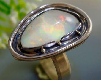 Opal Ring Ethiopian Opal Rock Crystal Doublet Sterling Silver Jewelry Izovella
