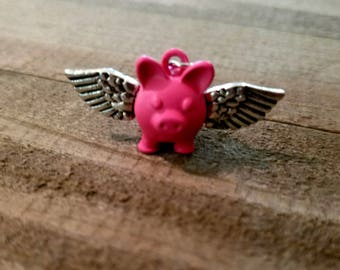 Pig Charm Flying Pig Charm Pig with Wings When Pigs Fly Animal Charm Pig Pendant Pink Pig Charm PREORDER
