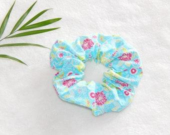 Scrunchie hair scrunchie, fabric patterns, hair elastic, hair accessory, hair scrunchies, flower, blue