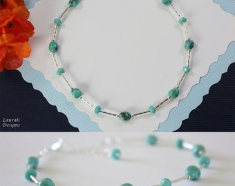 Turquoise Anklet and Sterling Silver, Mint Anklet, Beach, Vacation, Green Anklet, Turquoise, light green, Beach Wedding, Bridesmaid