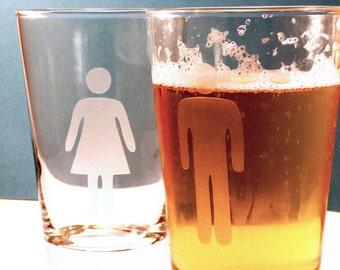 Man and Woman Pint Glass set - great wedding gift
