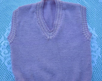 Gorgeous Pink/Purple Hand Knitted Vest for a Girl aged around 4 years.