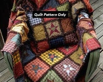 Rag Quilt Pattern/Instructions with Appliques.  Original Designer.  Handmade in Oregon!