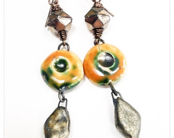 Rustic orange and bronze dangles - Scorched Earth dangle earrings