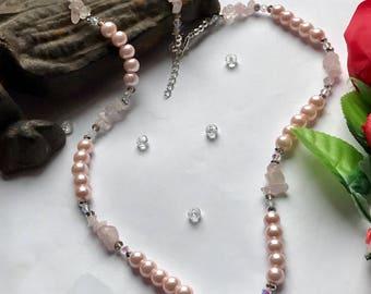Rose Quartz Necklace, Pink Necklace, Pearl Necklace, Rose Quartz  and Crystal Necklace, Crystal Necklace, Natural Stone Necklace,