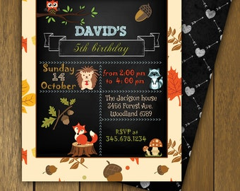Chalkboard Birthday Invitation, Woodland Theme, Chalkboard and Autumn Leaves Pattern, Digital, Printable File, Birthday Party,