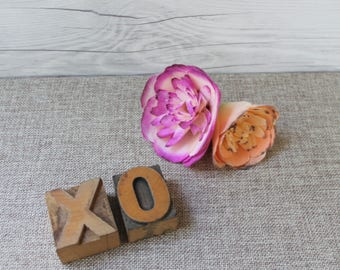XO Wood Letterpress Letter Blocks from 1930s, Vintage Letterpress XO -  Hugs and Kisses [Inventory #14]