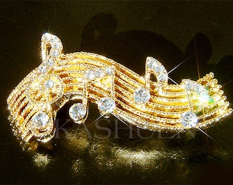 Swarovski Crystal TREBLE G CLEF Music Musical Note Gold Tone Pin Brooch Jewelry Musican Best Friends Mother's Day Mom Band Christmas Gift