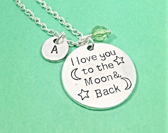 Personalized I love you to the moon and back  Charm Necklace, Custom Moon and Back Gift, Engraved Moon Pendant, I Love You Necklace Gift