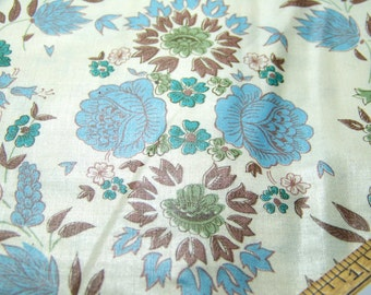 """Vintage 1950's Polished Cotton WHEAT SPRAY FLORAL Blue Yellow Brown Green Ivory 37"""" Wide 36""""Long"""