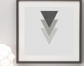 Geometric Greyscale Black and White Triangles Cross Stitch Pattern