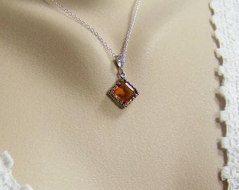 Gold Topaz Necklace, Swarovski Faceted Topaz, Filigree Set Topaz, November Birthstone, Gold Topaz Pendant, Gold Crystal Topaz, Diamond Set