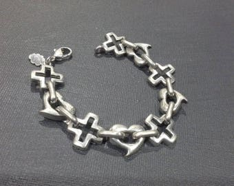 Andre Courreges Paris Silver Modernist Hearts & Crosses Bracelet Vintage 1960's