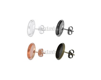 12mm Round Bezel Earring Stud Blank Base Stud Earring Tray Ear Earring Blank Stud Base fit 12mm Round Cabochons 50 PCS M103