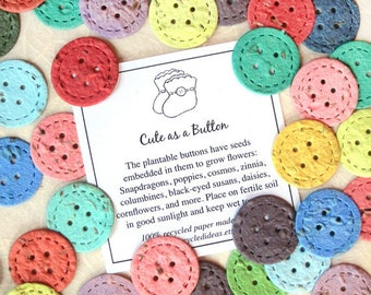 10-100 Cute as a Button Baby Shower Favors - Plantable Seed Paper Confetti Buttons