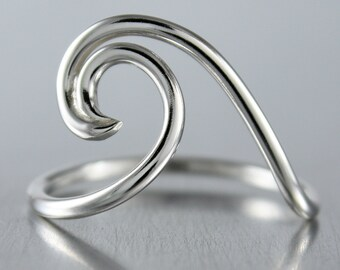 Silver Wave Ring, Simple Silver Ring, Sterling Silver Rings