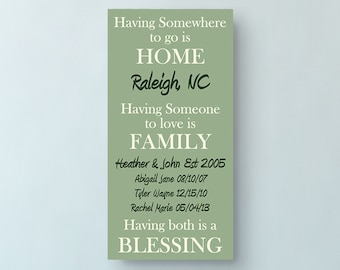 Home Family Blessing, Personalized Family Sign, Personalized Home Decor, Personalized Housewarming Gift, Wood Sign, Family Sign, Home Sign
