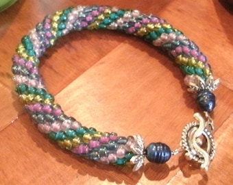 Green Gold Pink Blue Hand Bead Crochet Multi Color Rope Bracelet