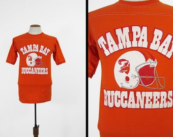 Vintage Tampa Bay Buccaneers Jersey Shirt 80s Football V Neck Made in USA - Medium