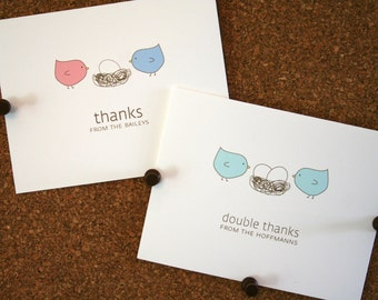 Twins Bird Baby Thank You Cards. Custom Twin Shower Thank You Cards. Twins Thank Yous. Personalized. Birds in Nest. (Set of 10)