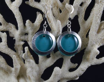 Handmade Turquoise and Sterling Silver Fused Glass Earrings with Sterling Silver Loops
