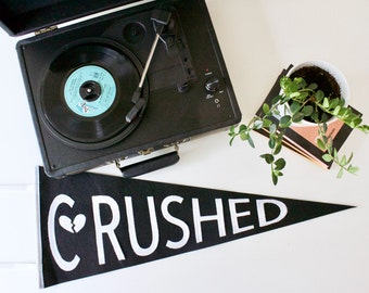 CRUSHED, valentine's day wall decor for the brokenhearted, black and white wool pennant, flag, February, wall hanging, breakup, heartbreak