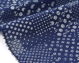 Waffle cotton Japanese traditional style anchor floral Navy x 50cm