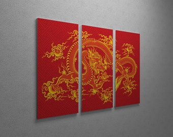 Chinese Red Dragon Gallery Wrapped Canvas Triptych Print