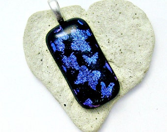 Fused Dichroic Glass Pendant - Magenta Blue Butterflies Fused Glass Pendant